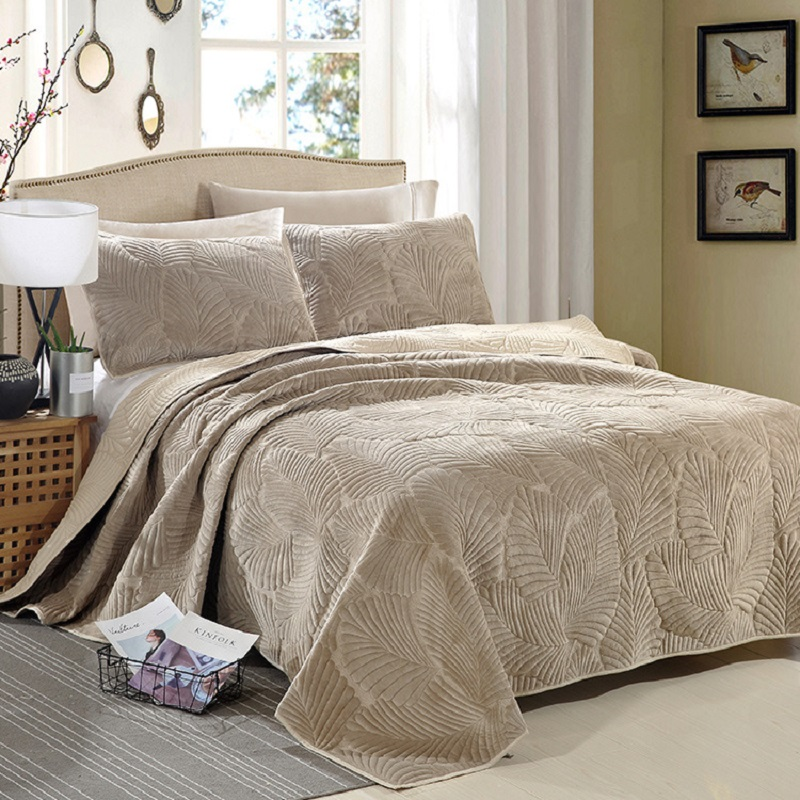 CHAUSUB Plush Cotton Quilt Set 3PCS Palm Leaves Embroidery Quilted Bedspread Bed cover sheets Pillowcase Coverlet Set King Size
