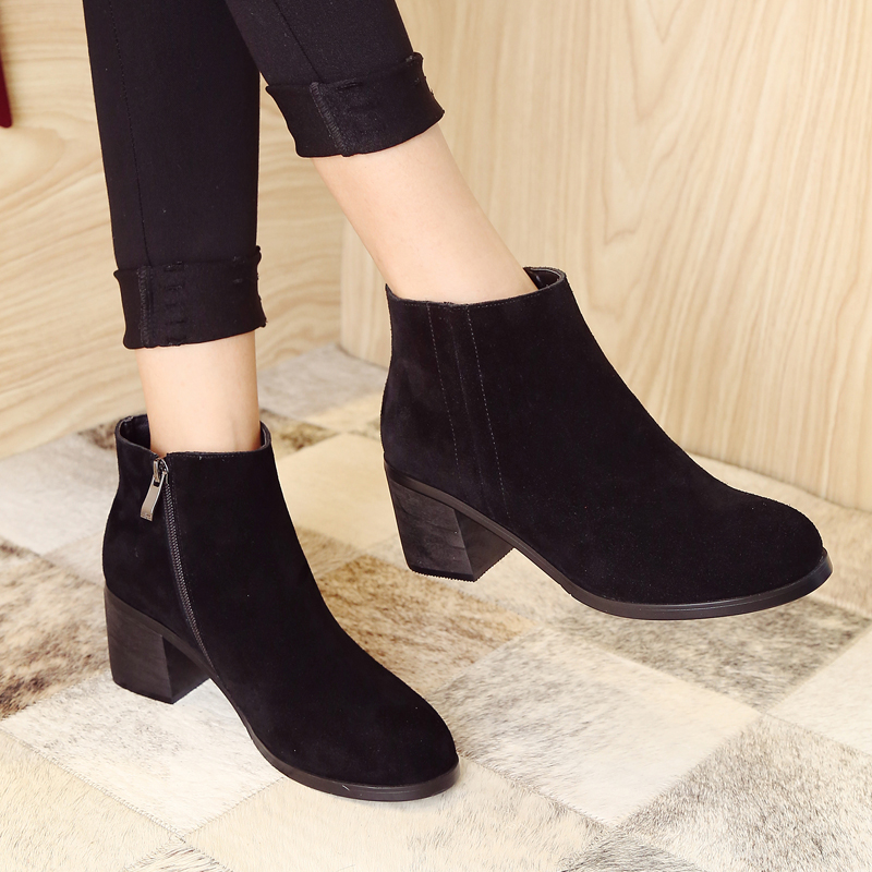 ФОТО Women's Spring Autumn Med Heel Comfort Ankle Boots Brand Designer Genuine Suede Leather Round Toe Short Booties Shoes for Women