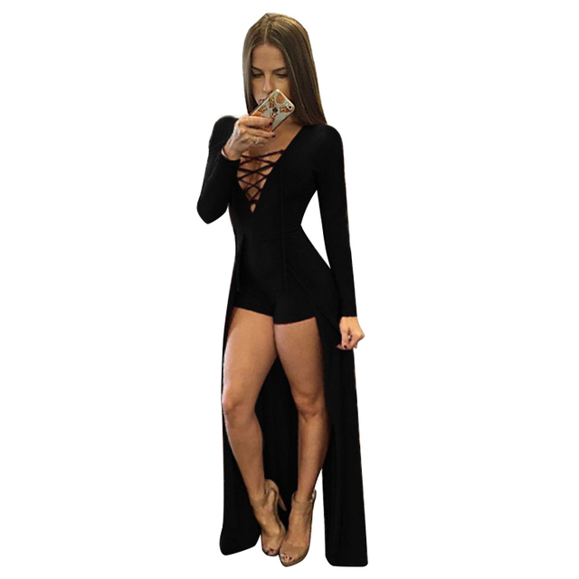 a664bea9d7a IMC Women s New Fashion Split Jumpsuit Lace Up V Neck Bandage Bodysuit Sexy  Long Sleeve Hollow