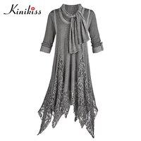 Kinikiss Asymmetric Casual Dress Women Autumn Pullover Lace Elegant Dress Spring Half Sleeve Gray Cotton Winter Dress Big Size