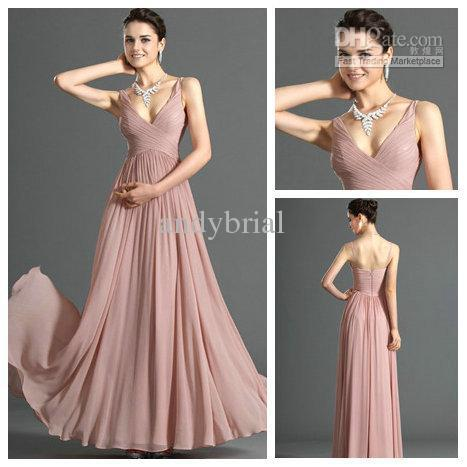 Sexy V-Neck Pleated Floor lenght Vestido Longo Long Chiffon 2019 Fast Shipping Women's Party/Pregnant Gowns   Bridesmaid     Dresses