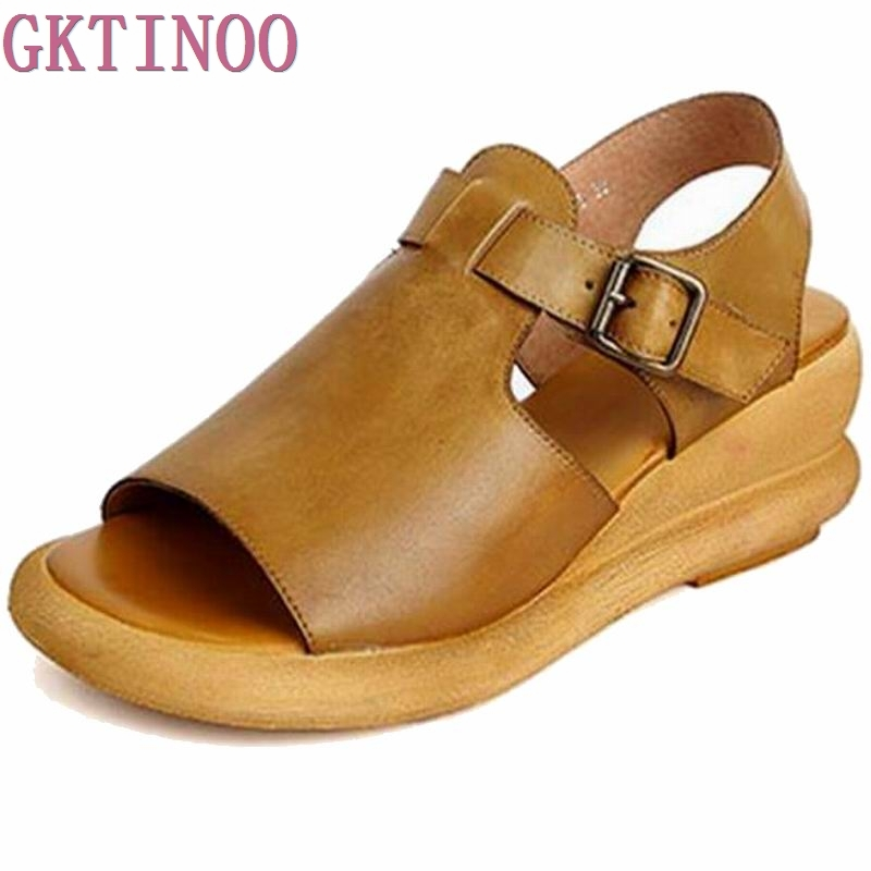 2017 handmade leather low with hollow out sandals shoes leather wedges soft bottom leisure shoes in the summer of mother ag46 New Genuine Leather Handmade Women Sandals Cut Out Wedges Cowhide Summer Shoes Peep Toes Comfotable Women's Vintage Shoes