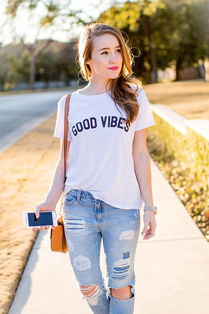 GOOD VIBES Letter Print T Shirt Women Casual Summer Style ...