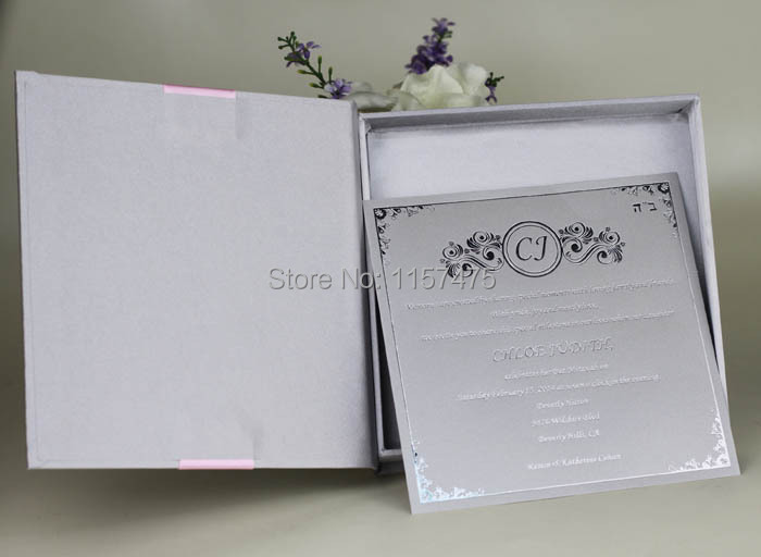 HI2005 Silver   Dark Blue Silk Wedding Invitation Box with Ribbon and Brooch-in  Cards   Invitations from Home   Garden on Aliexpress.com  e4981b19a59f