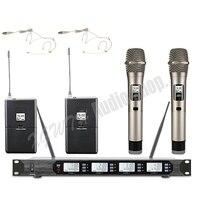 4x100 канальный цифровой беспроводной микрофон системы с приемником 4 ручной динамический микрофон 2 поясной передатчик гарнитура Mic
