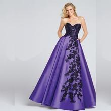 Little Black Prom Dress Purple Satin A Line Floor Length Long Ombre Prom Dress Appliques Sweetheart Lace Up Back Evening Dresses