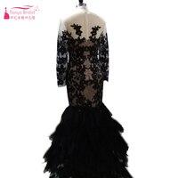 Arabic 2016 Sexy Evening Gown Black Mermaid Applique Vestido de formatura Lace prom dresses long sleeve Sheer neck gown Z080