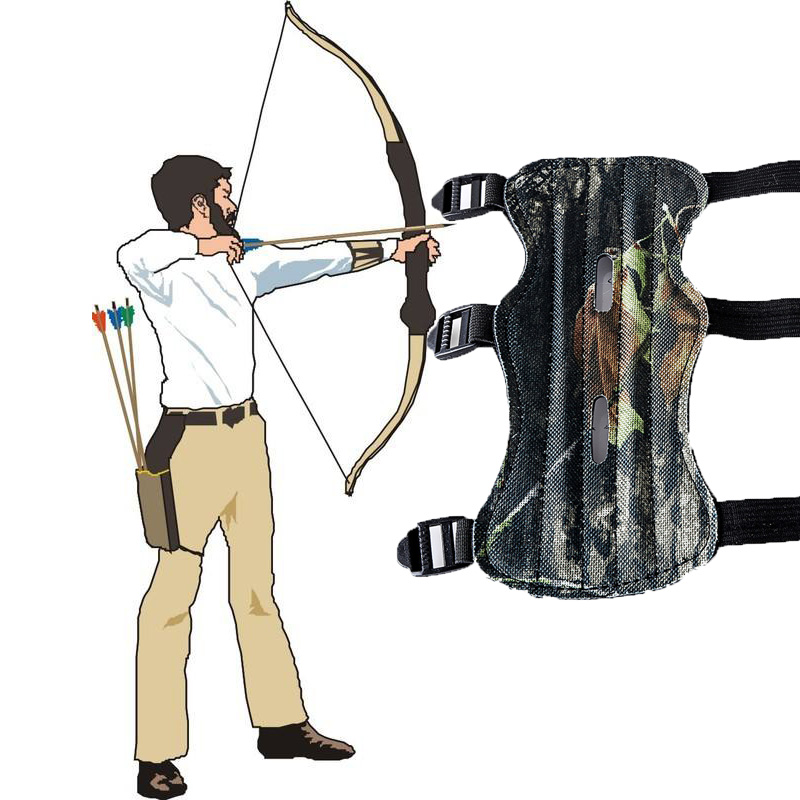 Archery Bow Arm Guard Protection Forearm Safe 3-Strap Camo Leather Hunting Shooting Recurve Compound Bow Arm Protector