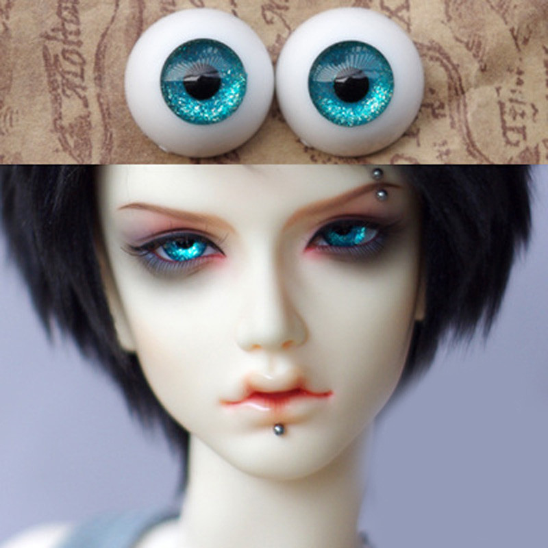 14mm Green Multicolor For BJD Doll Dollfie Coffee Pupil Glass Eyes Outfit