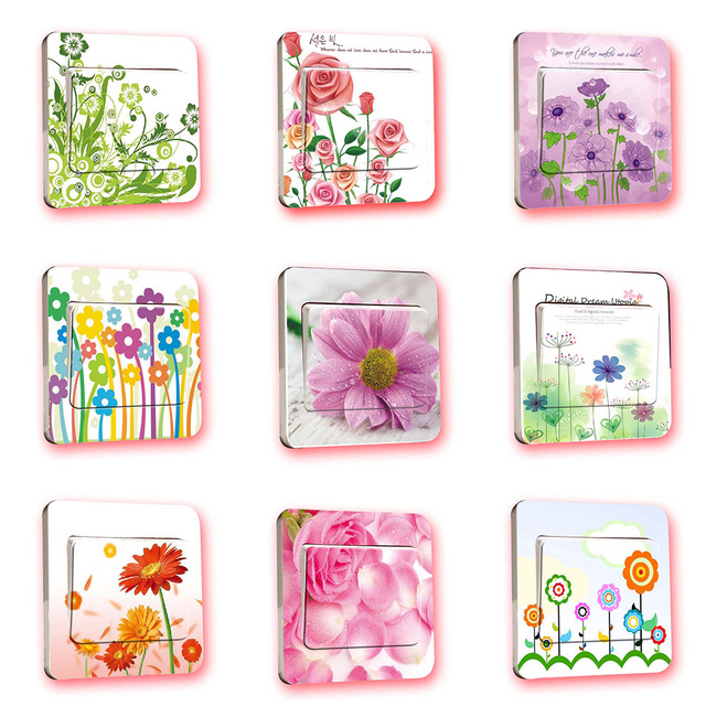 Colorful Flower Series PVC Light Switch Stickers for Children Kids ...