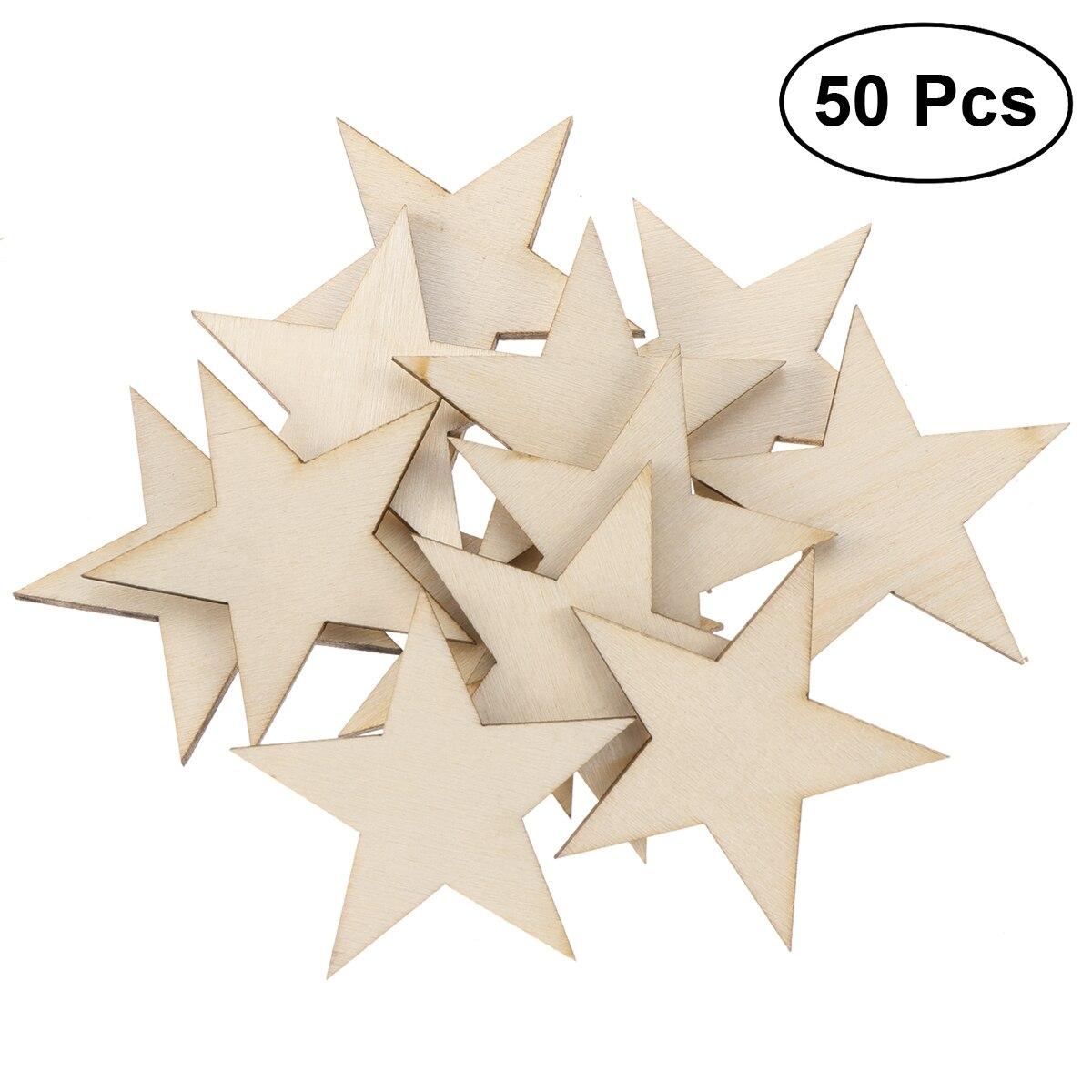 Diy Wood Crafts 50 Pcs Unfinished Star Shape Wood Cutout