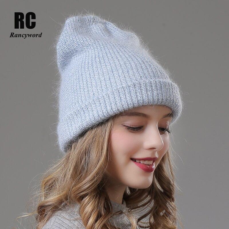 [Rancyword] Women Winter Hats Beanies Casual Female Real Fur Warm Hat Cap Gorros Angora Rabbit Fur Hat Skullies For Women RC2027