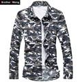 Camisas dos homens Da Moda Camuflagem Impresso Camisas Casual Primavera & Outono Fino Masculino Grandes Estaleiros Marca Lazer Camisas de Manga Comprida