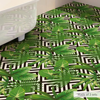 60X120CM Green Banana Leaf Anti skid Waterproof Sticker Anti Slip Bathroom Kitchen Floor Sticker PVC Self Adhesive Wallpaper 3d