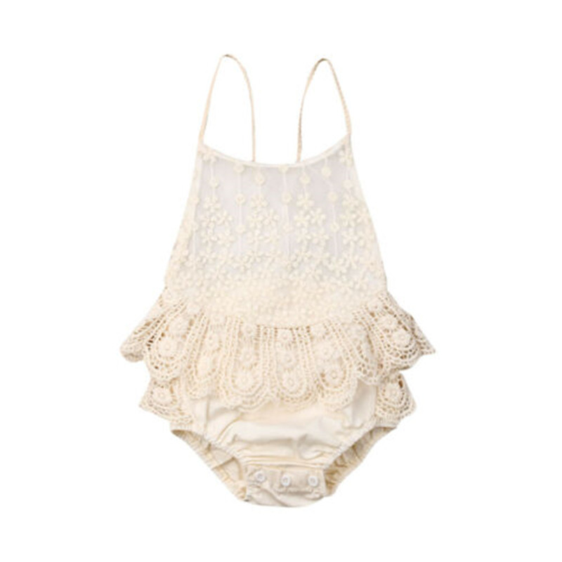 Newborn Baby Girls Lace Tutu Romper Fashion 2019 Baby Girls Sleeveless Backless Jumpsuit Outfits Sunsuit New Born Clothes 0-12M