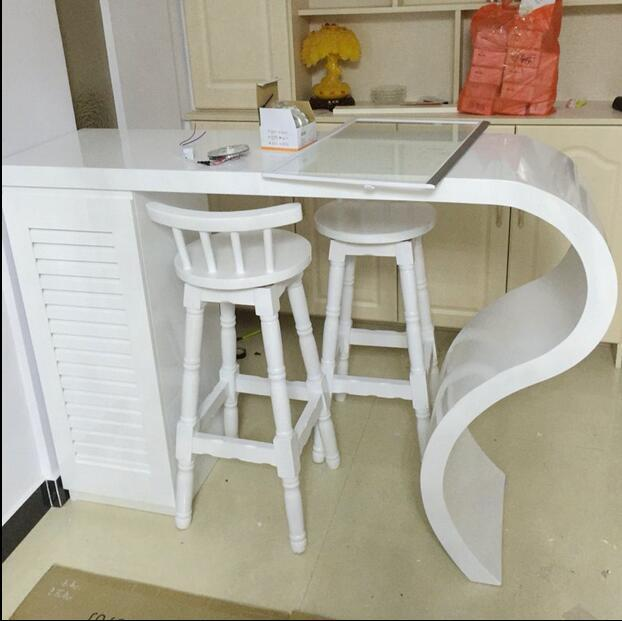 Simple Household Paint Bar Tables Custom Curved Cut Off
