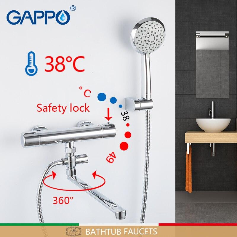 Bañera GAPPO grifos termostato de pared ducha mitigeur baignoire mezclador termostático ducha grifos de bañera de cuarto de baño