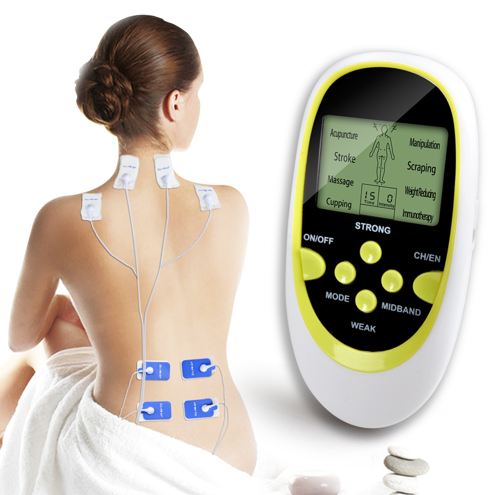 Dual-Output Electric Massager Electrical Stimulator Full Body Relax Muscle Therapy Massager Massage Pulse tens Acupuncture hot electric slimming full body relax pulse muscle stimulator tens therapy machine massager vibrateur with 20pcs tens pads
