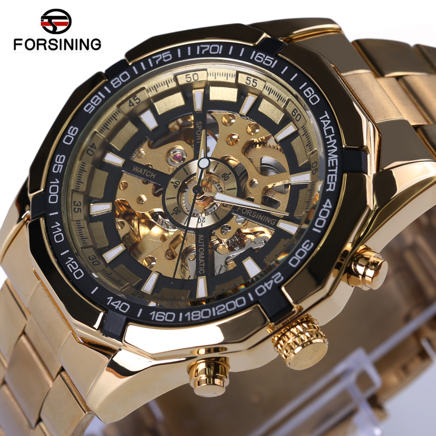 Forsining Mens Watches Top Brand Luxury Full Golden Men Automatic Skeleton Watch Mens Sport Watch Designer Fashion Casual Clock forsining date month display rose golden case mens watches top brand luxury automatic watch clock men casual fashion clock watch