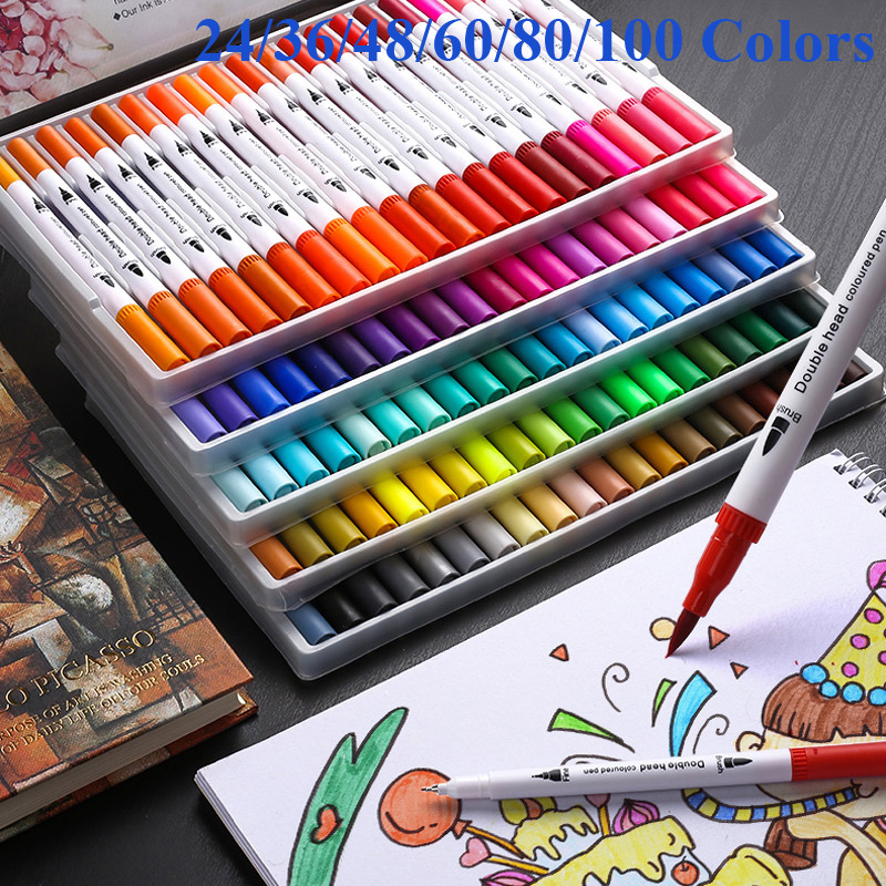 24/48/60/80/100 Colors Dual Head Sketch Markers Brush 0.4mm Fineliner Watercolor Art Marker Dual Tip Marker Pen