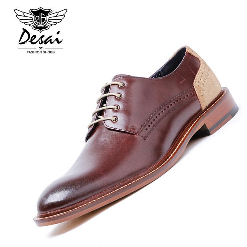 87798e1189e Qualité Costumes Desai Marque Mâle Luxe Véritable Brown 43 Chaussures Cuir  Hommes En Haute Robe D affaires ...