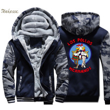 Breaking Bad Hoodie Men LOS POLLOS Hermanos Hooded Sweatshirt Chicken Brothers Coat 2018 Winter Thick Fleece Warm Hipster Jacket