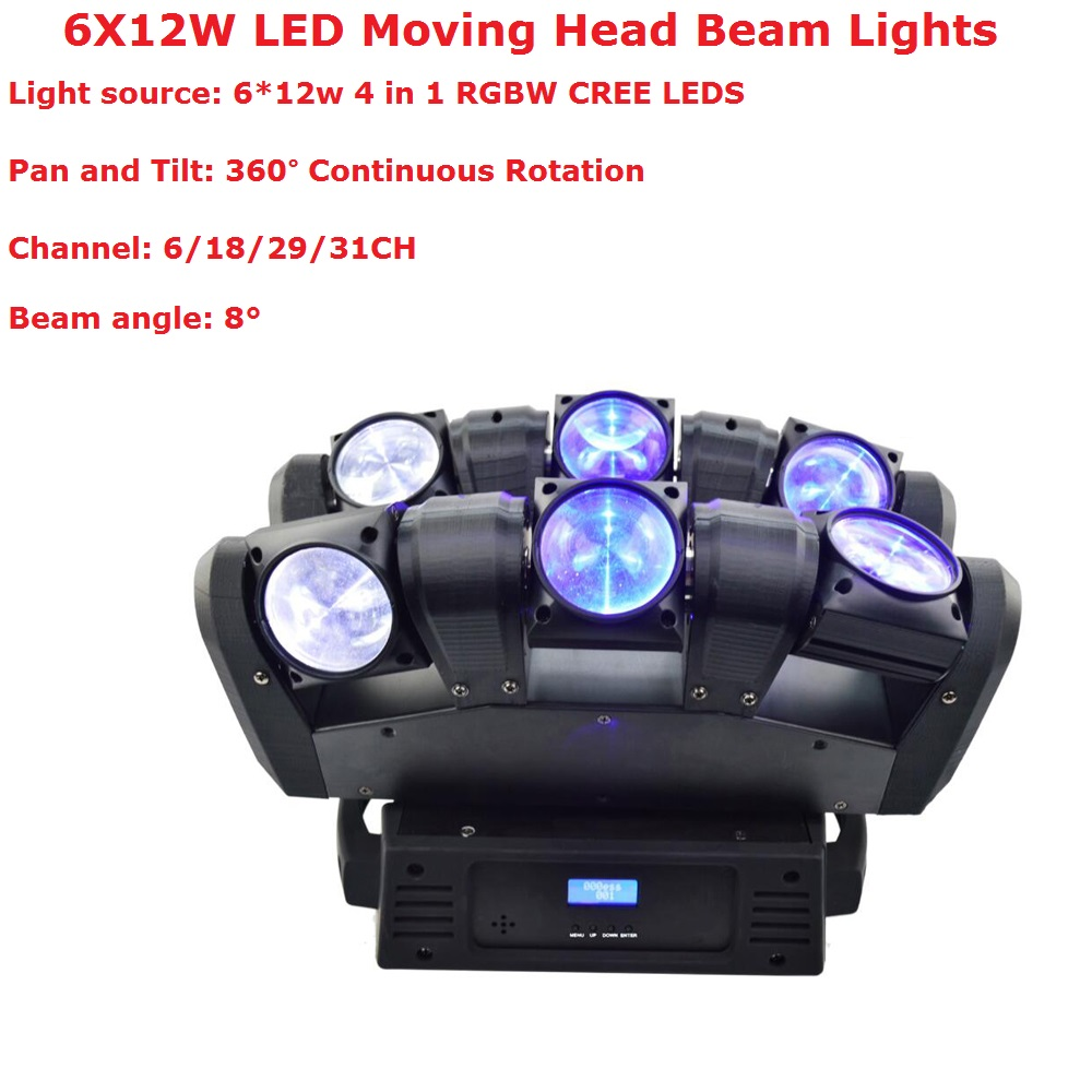 New Arrival 6X12W RGBW 4IN1 LED Stage Lights Moving Head Beam Party Light DMX512 Led Dj Disco Xmas Events Lighting ProjectorNew Arrival 6X12W RGBW 4IN1 LED Stage Lights Moving Head Beam Party Light DMX512 Led Dj Disco Xmas Events Lighting Projector