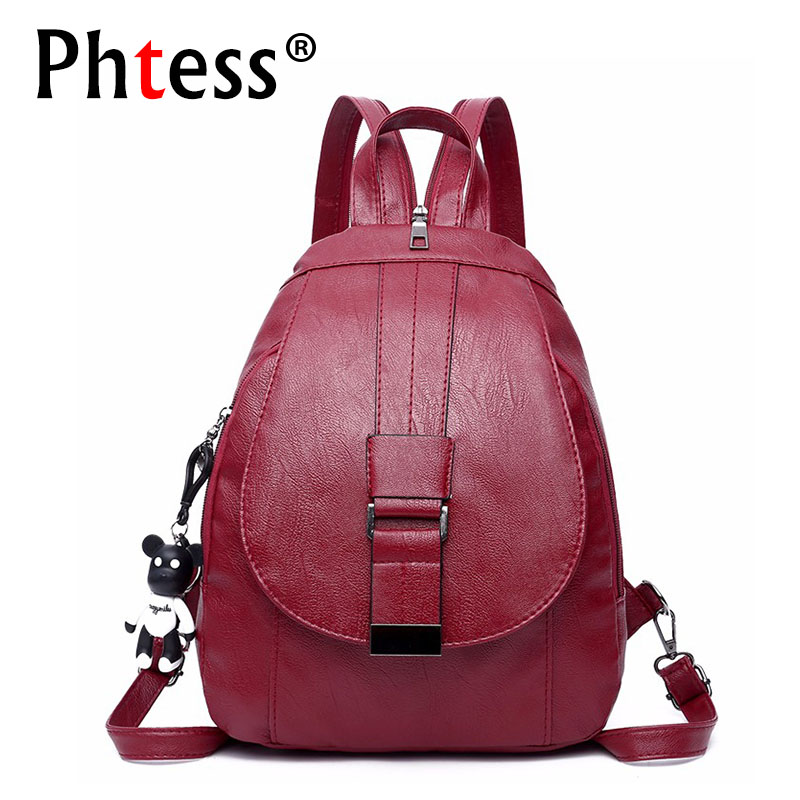 2019 Women Leather Backpacks For Girls Sac A Dos Femme Vintage Bagpack School Bags Female Small Backpack High Quality Mochila