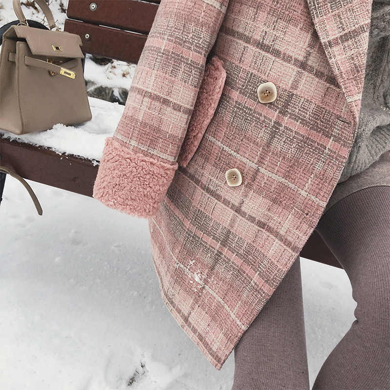 MISHOW 2019 autumn winter plaid woolen coat new fashion causal women turndown collar long pink coat MX18D9678