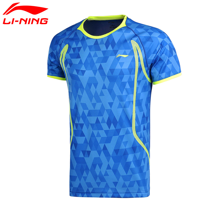 Li-Ning Для мужчин в сухом бадминтон обучение рубашки дышащие легкие футболки конкурс комфорт внутри Спортивная футболка AAYM001 Q170