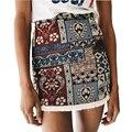 Mujeres vintage mini faldas estilo étnico impreso floral faldas retro falda streetwear clásico borla dobladillo faldas boho beach saias