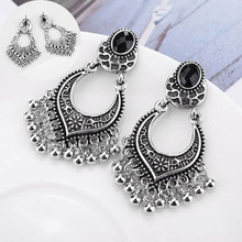 Fashion ethnic Vintage Big Drop Pendant black tassel Bohemia Ancient Silver Carved Flower Round Tassel Earrings