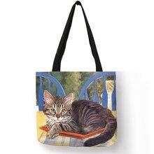 Эко белье Многоразовые сумки с маслом кошка живопись Для женщин Мода сумка Сумки Студент Путешествия Школьные сумки
