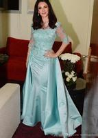 Mother of the Bride Dresses in Evening Dresses Light Blue Scoop Neck Half Sleeve Lace Beaded Floor Length Satin Mermaid