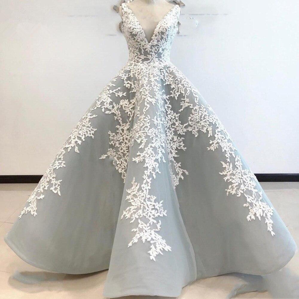 Argent robes de soirée musulmanes 2019 robe de bal col en v Tulle Appliques islamique dubaï saoudien longue robe de soirée robe de bal