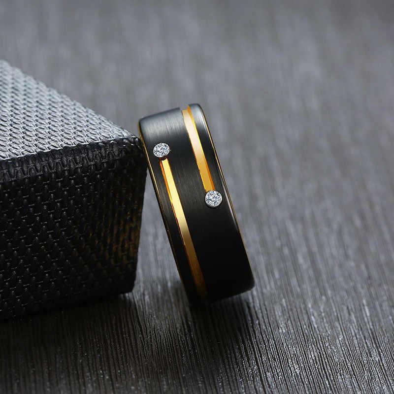 Modyle 2019 ใหม่สีดำและทองสีทังสเตนคาร์ไบด์แหวน Cool Men Punk เครื่องประดับ CZ หินขายส่ง