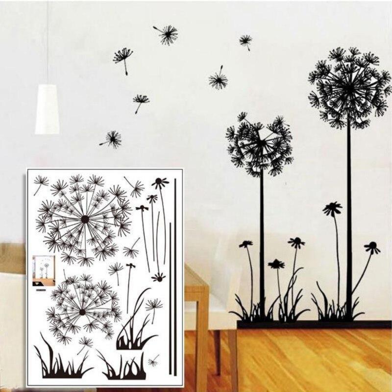 Dandelion Wall Art Dandelion Decor Black White Bedroom: 50*70cm Beautiful Dandelion Wall Stickers Living Room
