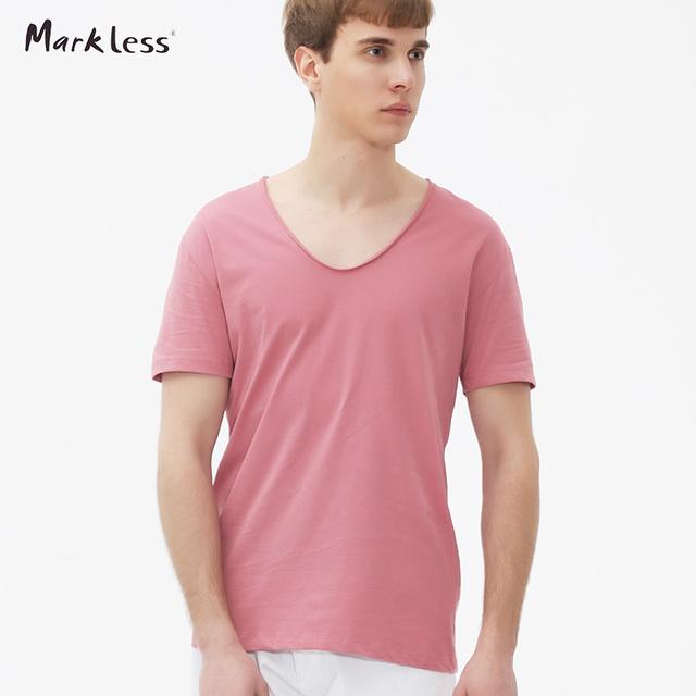 Sem marcas dos homens com decote em v t-shirt masculina manga curta-cor sólida básica t shirts homem tops men's clothing nova verão tees txa6685m
