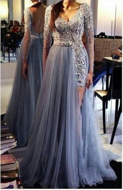 2016 elegante Light Blue V Neck as costas abertas manga comprida Tulle pavimento Length Prom Dress com frisada Lace Applique