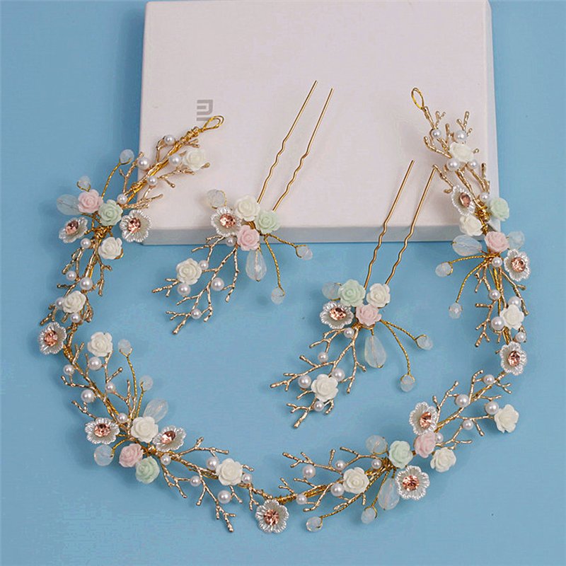 3PCS Gold Women Hair Jewelry Colorful Flower Headband Hairpins Set Pearl Crystal Tiara Hairband Bridal Wedding Hair Accessories