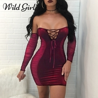 Off Shoulder Bodycon Sexy Dress Women Lace Up Black Summer Dress 2018 Evening Party Velvet Hollow