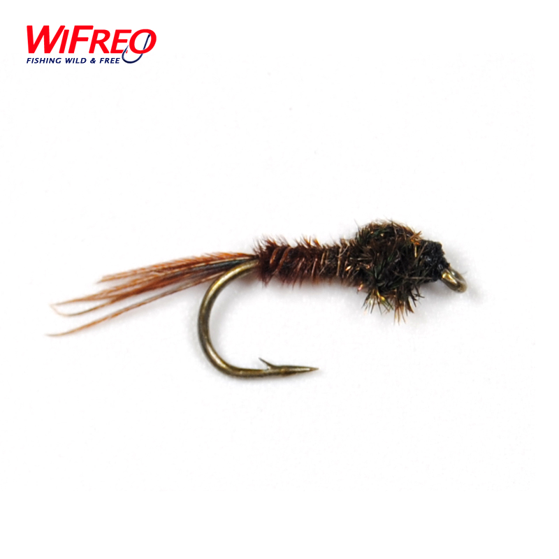 10PCS 14# Free Box Wifreo Nymph Pheasant Tail Fly Trout Fishing Flies 12pcs 14 red tail bead head buzzer nymph fly for trout fishing lures