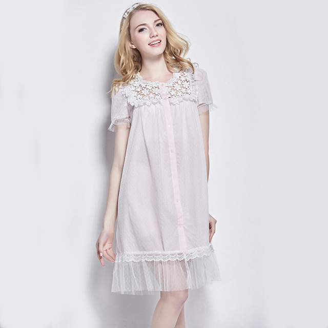 Short Sleeve Elegant Nightdress Cotton Nightgown Patchwork Lace ...