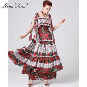 Image 3 - MoaaYina ファッションデザイナー滑走路ドレス春夏の女性スパゲッティストラップ花柄フリルレースマキシドレス