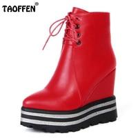 TAOFFEN Women Winter Shoes Platform Wedge Heeled Shoes High Heels Black Lace Boots Female Autumn Short