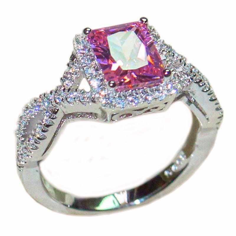 Mode femmes carré rose CZ pierre anneau doigt 925 bijoux en argent Sterling mariage mariée bande anneaux taille 5,6, 7,8, 9,10