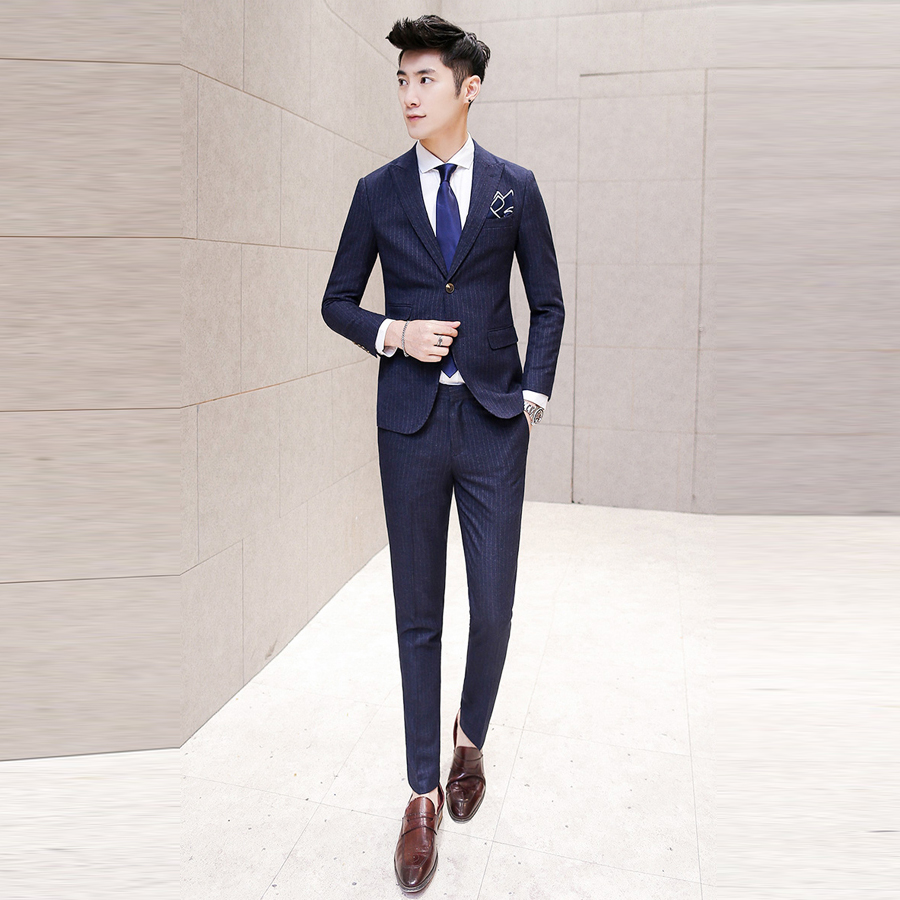 free shipping navy blue suit men new style groom wedding suit slim