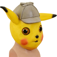 Movie Detective Pikachu Mask Cosplay Props Latex Full Face Helmet Women Men Halloween Pikachu Accessories