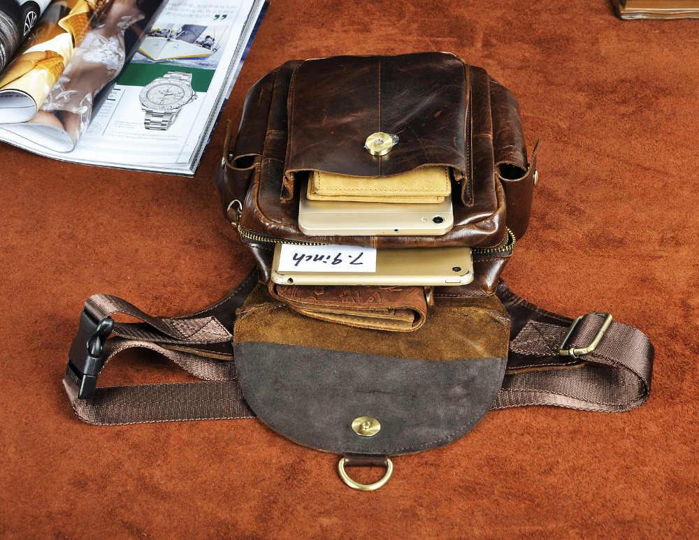 Diseño Original de cuero para hombre bolsa de mensajero multifunción café moda viaje riñonera cintura paquete gota bolsa pierna hombre 9938c