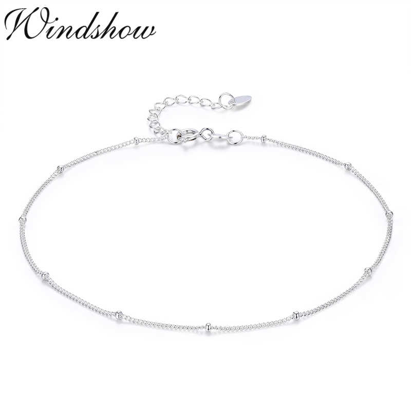 Tiny Pure Real 925 Sterling Silver Beads Curb Chain Anklet for Women Girls Friend Foot Jewelry leg bracelet barefoot tobillera